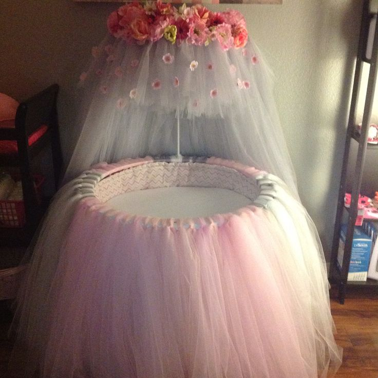 Pink Amp Gray Tulle Amp Floral Bedding For Round Bassinet