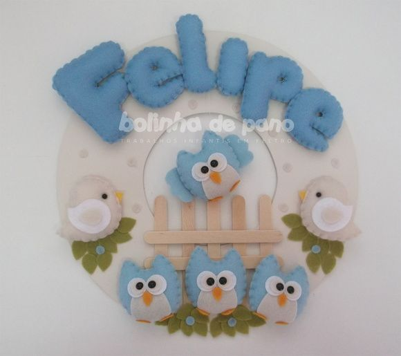 Enfeite Porta Maternidade Corujinha Azul | Bolinha de Pano | 383D06 - Elo7
