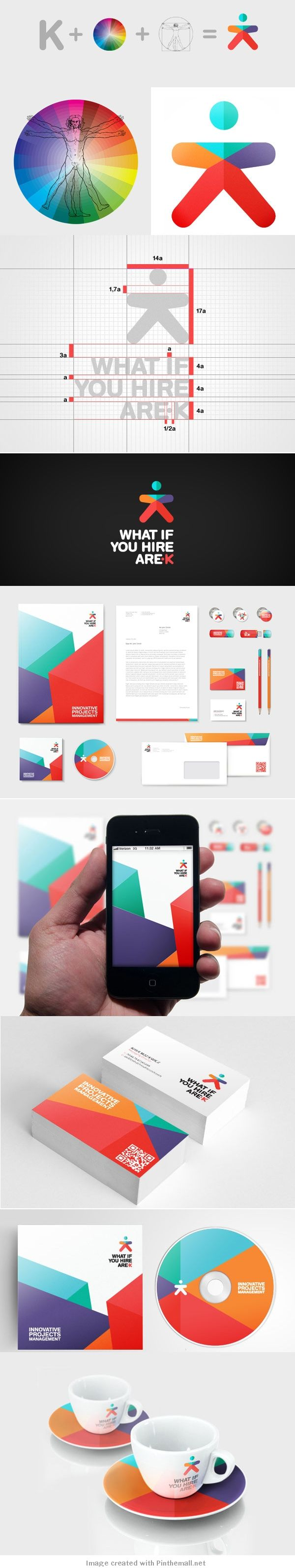 Colorful, geometric, and abstract logo, branding, and corporate identity for/by Arek Creative.