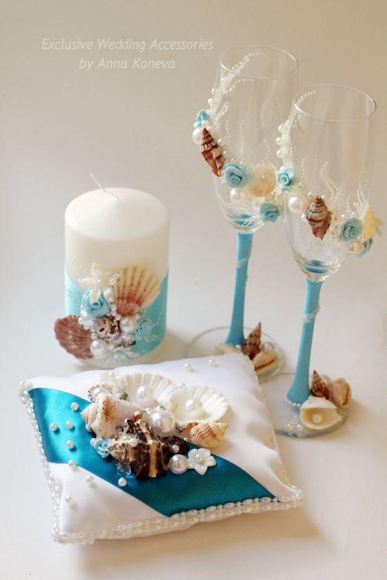 SALE Beach Wedding Champagne Glasses Bride And Groom Сhampagne Glasses Beach We…