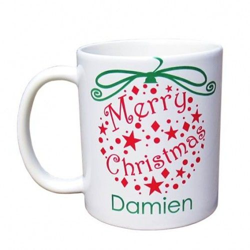 Personalised Mug - Merry Christmas & Happy New Year Ornaments - 3 Colour Themes