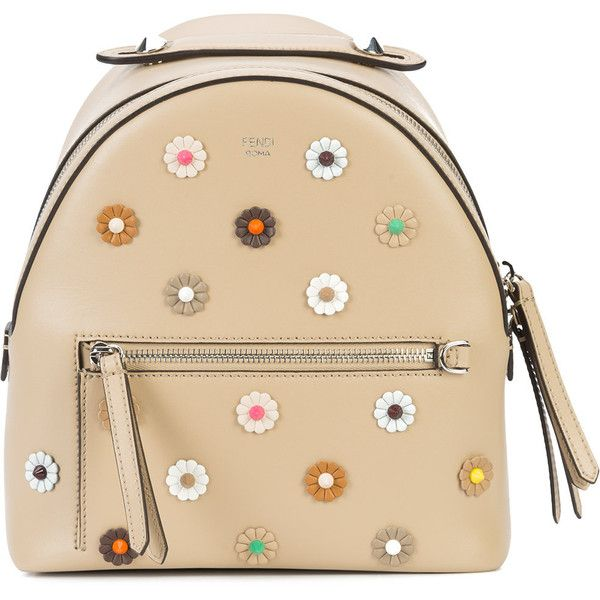 Fendi mini flower embellished backpack (3 880 AUD) ❤ liked on Polyvore featuring bags, backpacks, leather backpacks, mini leather backpack, real leather backpack, mini rucksack and beige backpack