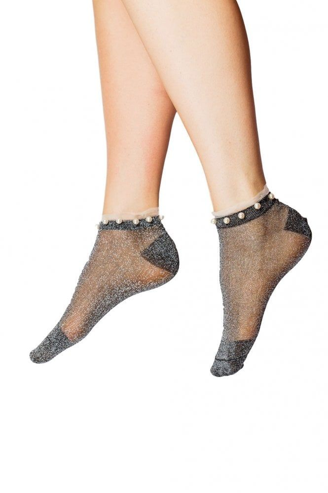 C /& N Accessories Mesh Beaded Trainer Sock 506