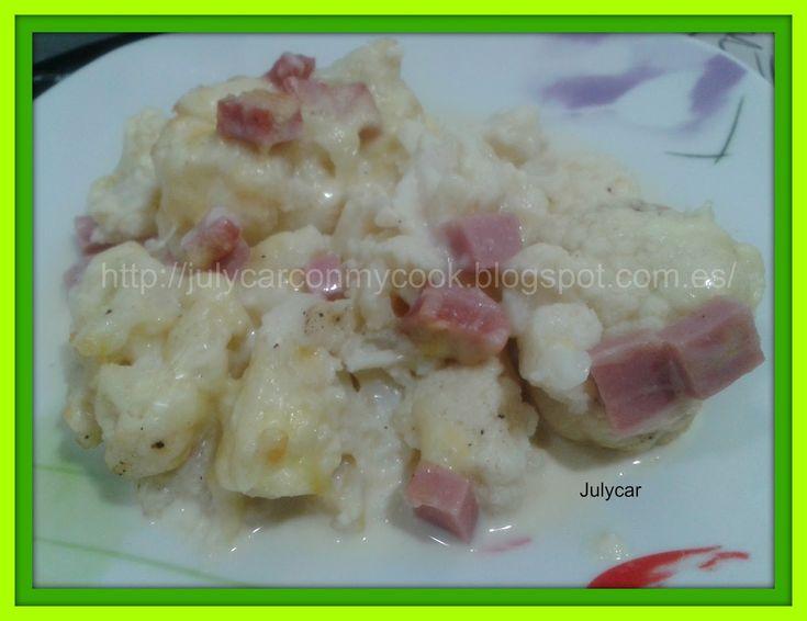Ingredientes:     1 kilo de coliflor congelada   taquitos de jamón de pavo (fiambre)  200gr de nata 5%MG ó leche evaporada light 4% MG ...