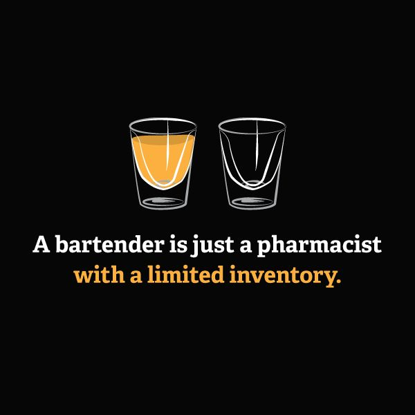 Bartender is Just a Pharmacist T-Shirt - $7.88. https://www.tanga.com/deals/01c4dab862c/bartender-is-just-a-pharmacist-t-shirt