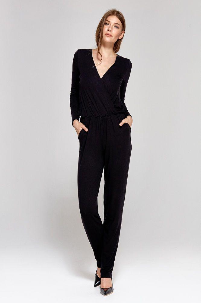 391120f9aa19 Combinaison pantalon noire femme manches longues décolleté V CKM02 COLETT   Combinaisonspantalons