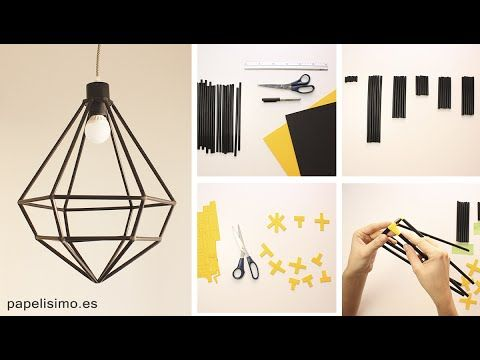 Tutorial: Cómo hacer lámpara hecha a mano con pajitas (popotes) con forma de estructura alámbrica de diamante. Aprender a hacer estas lámparas de moda a mano...