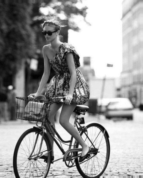 glamorous dress - fun bike... #fashion