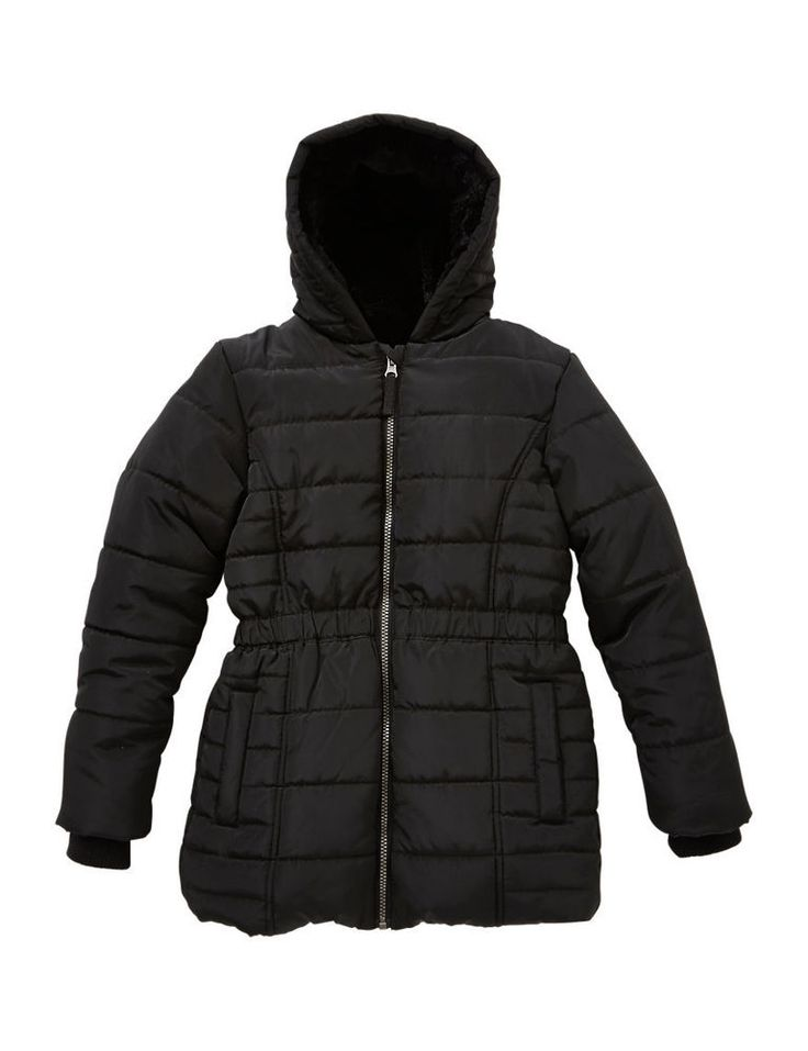 NWT Marks & Spencer Black Soft Thermal Padded Stormwear Fur Hood Coat 9 -10 YRS  #MarksandSpencer #BasicCoat #DressyEverydayHoliday