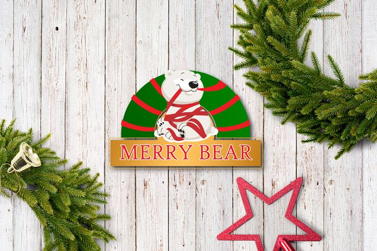The trademark for shop Christmas trees and decorations Merry Bear. yarche-design.by  #logo #design #merry