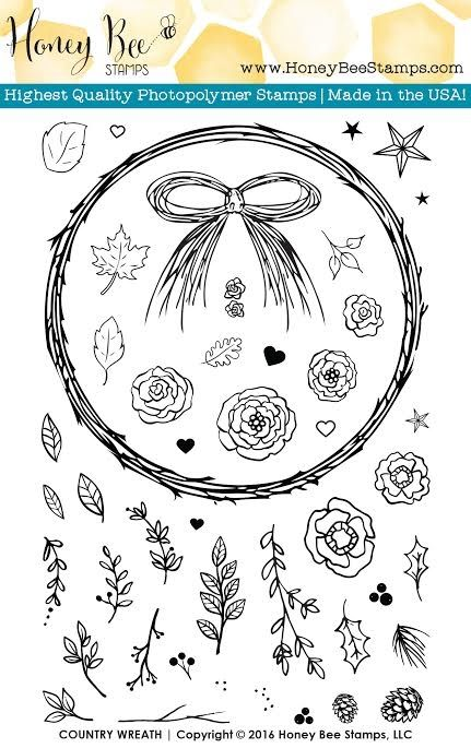 Honey Bee COUNTRY WREATH Clear Stamp Set HBST23 zoom image