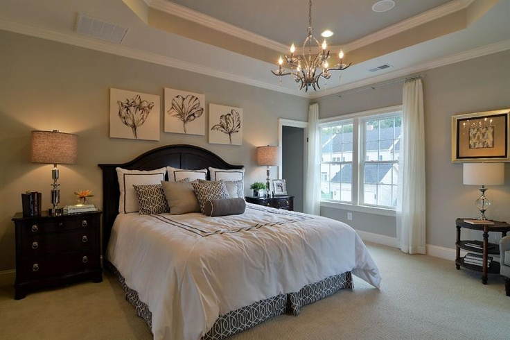 Trey ceilings and chandelier home decor master bedroom Master bedroom ceiling colors
