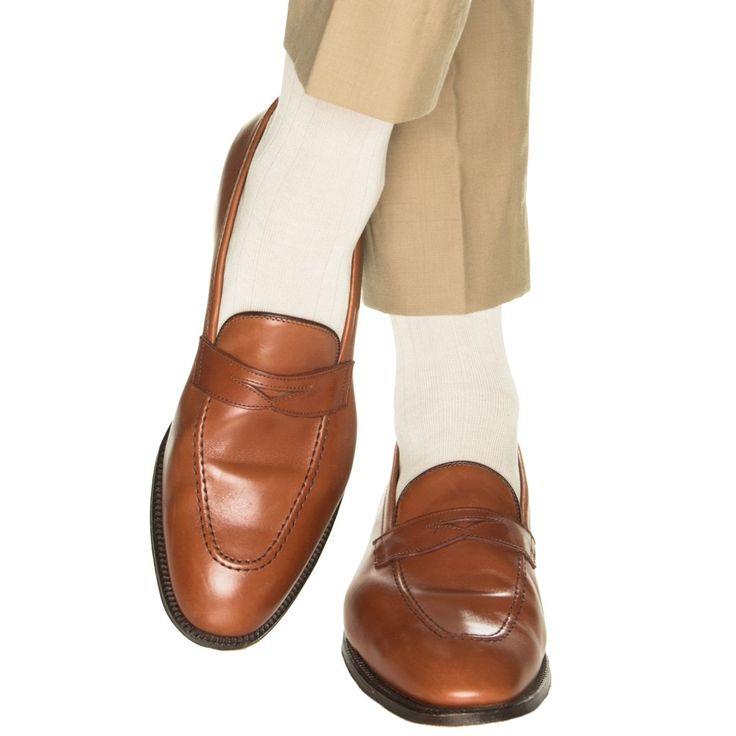 Cream Ribbed Fine Merino Wool Sock Linked Toe OTC