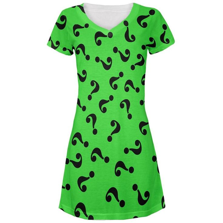 Halloween Riddle Me This Costume All Over Juniors V-Neck Dress