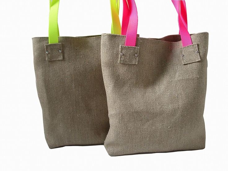 Neon Tote Bag in Jute / Linen, Jute Beach Bag, Handbag, Day Bag.