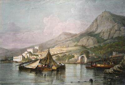 Algérie - Peintre Britannique WYLD William (1806-1889) et Peintre Français LESSORE Emile (1805-1876), Aquarelle 1835, Titre : Vue générale de Bouji ( Bejaia)