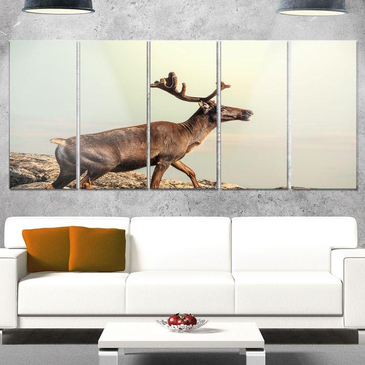 Designart 'Reindeer on Top of the Mountain' Extra Animal Metal Wall Art