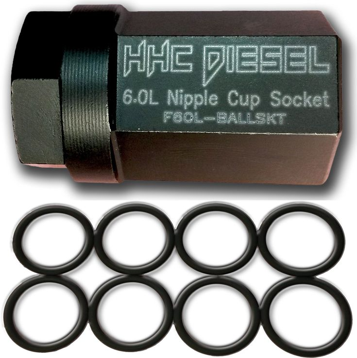 "HHC Diesel ~Ford 6.0L Diesel Nipple Cup Socket Kit~ O-Rings & Tool (8: Heavy Duty Viton O-Rings & 1/2"" Drive Nipple Cup Socket) F60L-BALLKIT"