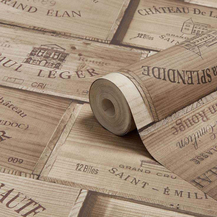 Grandeco Gold Wooden Wine Boxes Wallpaper | Departments | DIY at B&Q