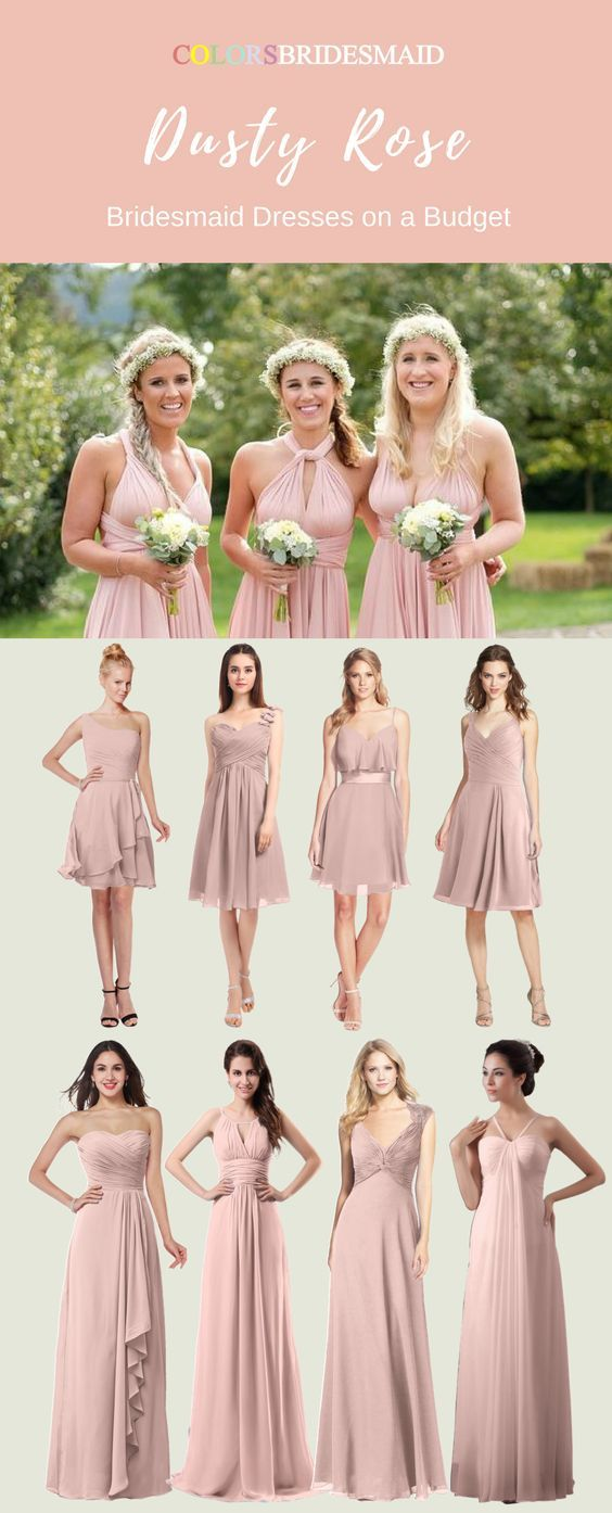 a8be188539d0 The dusty rose bridesmaid dresses both in knee-length and floor-length are  sold