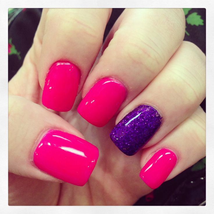 Hot Pink Gel Nails With Purple Rockstar Accent