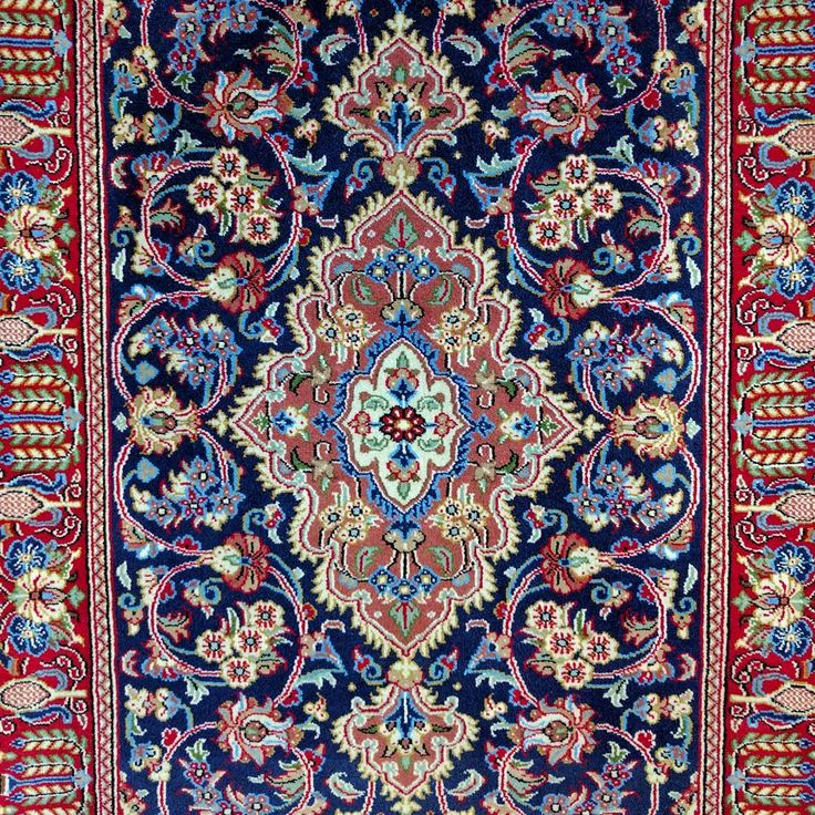"""Qum rugs are woven in the city of Qom in Central Iran. This particular piece features a traditional central medallion """"Shah Abbas"""" design with a beautifully contrasted deep blue field. ⭐️ #qum #rugs #rug #qom #iran #traditional #design #contrast #blue #persian #persianrugs #wool #gallery #sydney #rozelle #interiorinspiration #interiorlovers #interiorinspo #sydneystyle #sydneyinteriors #australianinteriors #handmade #madebyhand #carpet #art #interior #carpet #showroom #interiordesign…"""