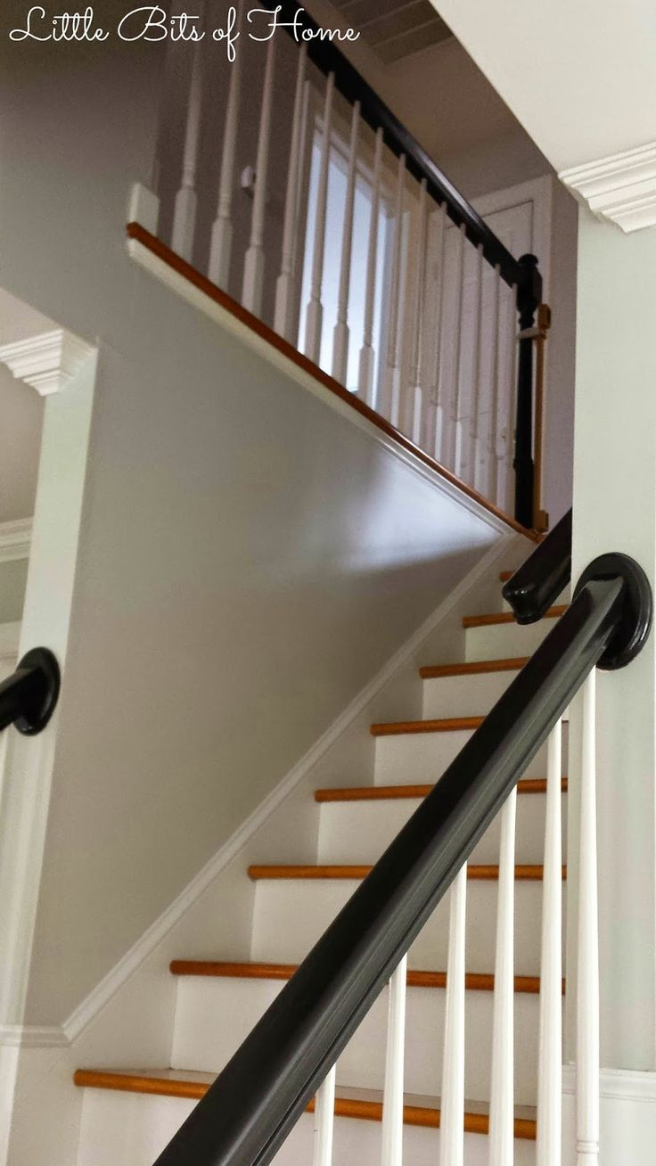 How to Paint a Stairwell Without Hiring Help plus Gray Owl paint lightened 25%