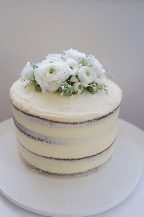 White chocolate naked mud cake with lemon buttercream