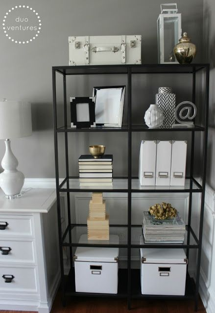 mixing metals on the bookcases (i.e. golds, silvers, blacks, whites)