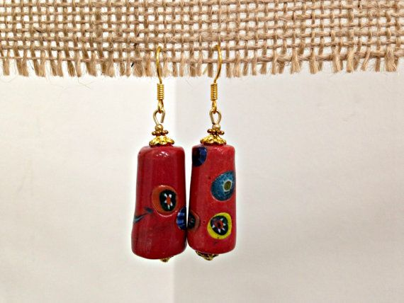 Red Clay Drop Earrings by SCBoutique123 on Etsy