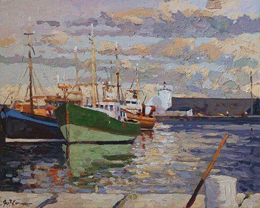 Alex McKenna-Balbriggan Harbour  #art #beach #Balbriggan #boat #lighthouse #waves #shore #sea #painting #DukeStreetGallery