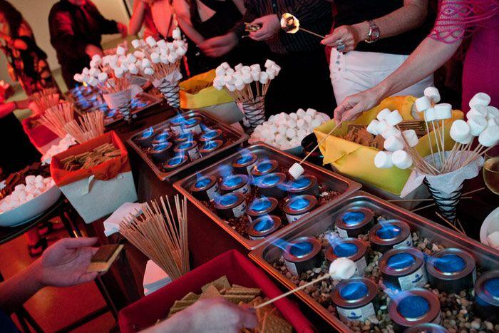Smores bar: Smorebar, Wedding Reception, Desserts Stations, Parties Ideas, Events Ideas, S More Bar, Smore Bar, Wedding Fun, Food Bar