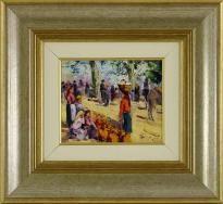 """Lote 5056 - MOTA URGEIRO (n. 1946) - Original - Pintura a óleo sobre madeira, assinada, título """"Feira das Mercês"""", com 15x18 cm (moldura dourada com 34x37 cm). Óleo deste autor foi vendido por €3.400 numa leiloeira em Lisboa. Nota: Mota Urgeiro é considerado o expoente máximo do impressionismo em Portugal, como reconhecimento pela qualidade artística das suas obras de arte, foi premiado com medalha de Ouro da Sociedade Nacional de Belas Artes em 1978 - Current price: €120"""