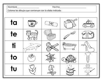 Sílabas con t - ta, te, ti, to, tu. Hojas de trabajo. Spanish syllables  printable worksheets for bilingual or dual language classrooms. Kindergarten and first grade.