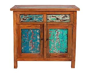 Credenza a 2 ante in legno di mogano multicolor - 88x80x46 cm