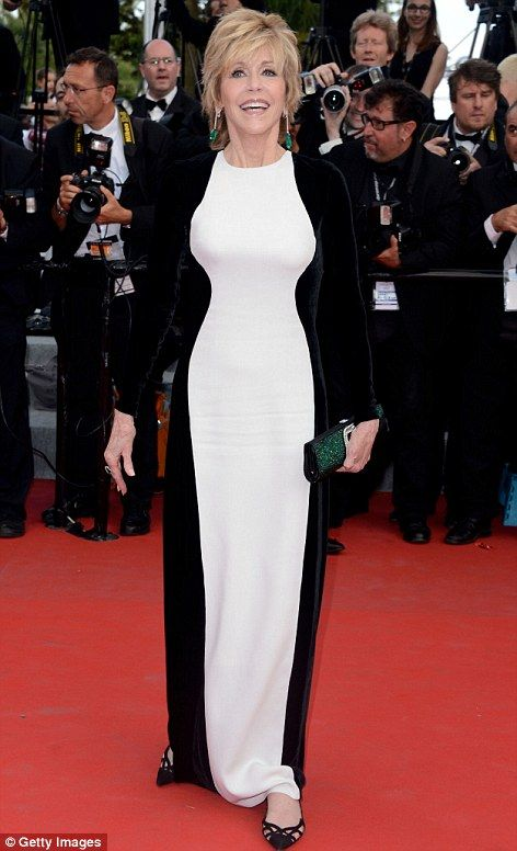 Showing off her optically-enhanced curves: Jane Fonda wore an eye-catching black and white optical illusion dress to the Rust and Bones premiere today in Cannes