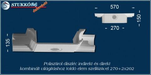 Budapest polisztirol stukkó profil spot izzó és Led szalag világítás kiépítéséhez toldó elem szellőzővel 270+2x202
