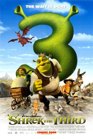 Shrek the Third (2007): When his new father-in-law, King Harold falls ill, Shrek is looked at as the heir to the land of Far, Far Away. Not one to give up his beloved swamp, Shrek recruits his friends Donkey and Puss in Boots to install the rebellious Artie as the new king. Princess Fiona, however, rallies a band of royal girlfriends to fend off a coup d'etat by the jilted Prince Charming #movie