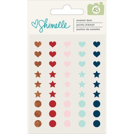 Shimelle Go Now Go - Hearts, Stars & Dots Enamel Dots 45/pkg