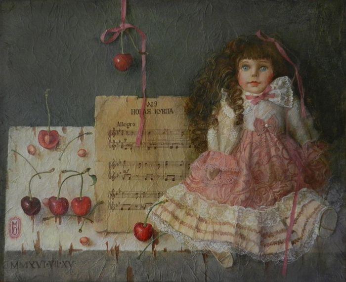 Посмотреть иллюстрацию Моля - Новая кукла, Детский альбом П.И.Чайковского. холст, акрил, 450х550мм