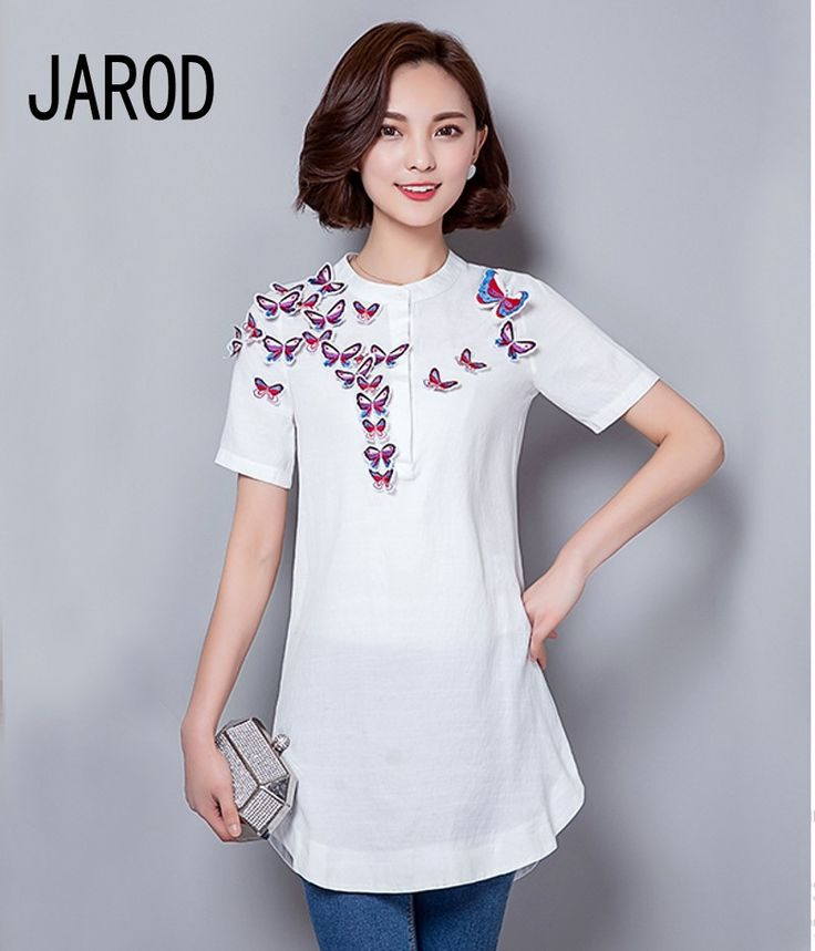 Women Embroidery Stereo Butterfly Blouse Unique Design Long Blouse Asymmetric Length 3/4 Sleeve short Shirt For