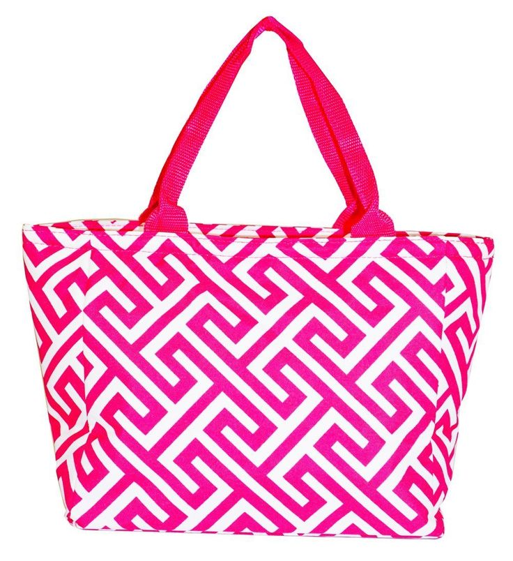 Traveler Pink Greek Key Insulated Lunch Tote Bag