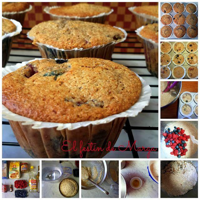El festín de Marga: Muffins veganos de espelta integral con arándanos ...