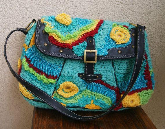 Midium bag  freeform crochet bag city bagweekend