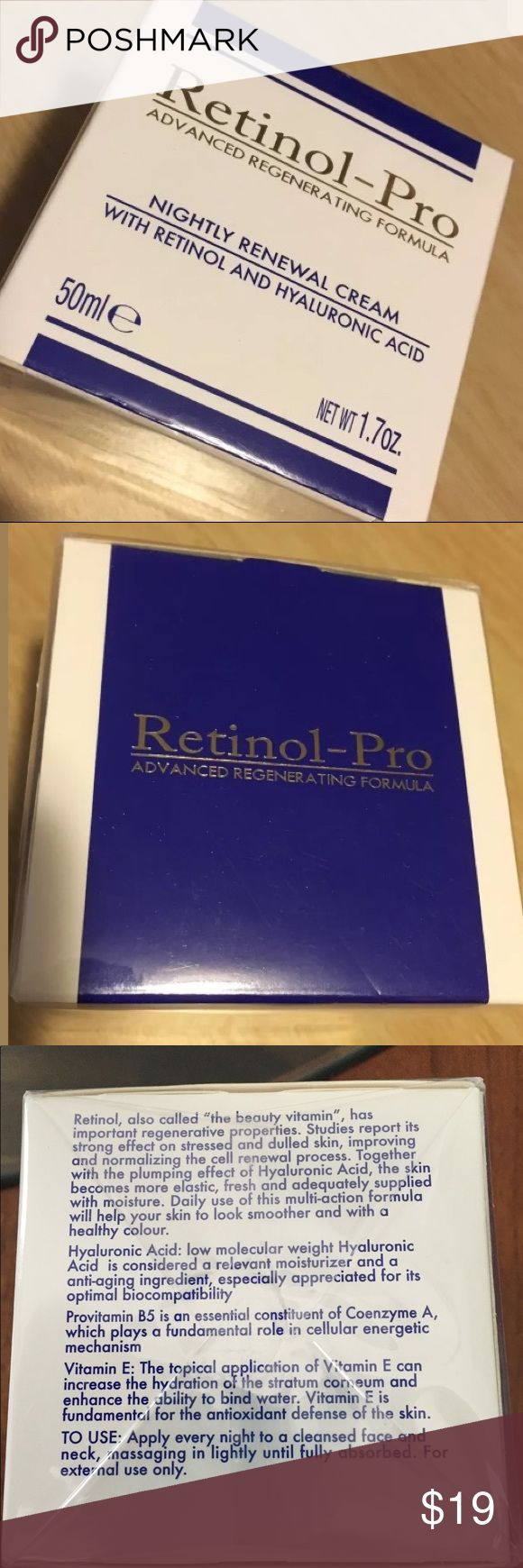 NWT Retinol-Pro Nightly Renewal Face cream New with tags Retinol-Pro Advanced Regeneration Formula nightly renewal cream with retinal and hyaluronic acid. Net weight 1.7 ounce. Retinol-Pro Makeup