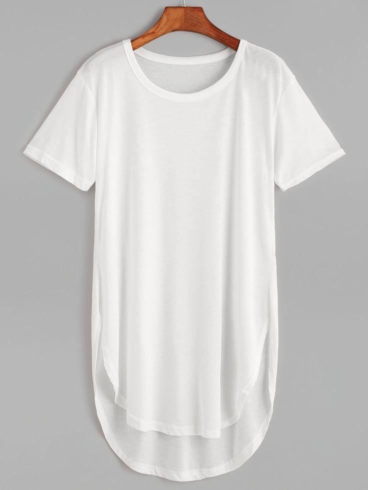 White Curved Hem High Low Long T-Shirt : $8.00
