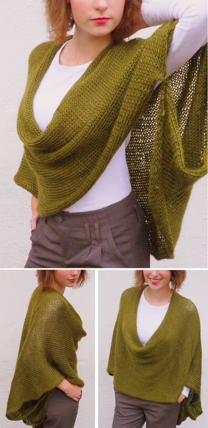 Knitting Pattern for Soft Wrap Poncho - One long rectangle, sewn in back and at the arms for a wrap. Rated very easy by Ravelrers. Designed by Alice Tang. Pictured project by luna