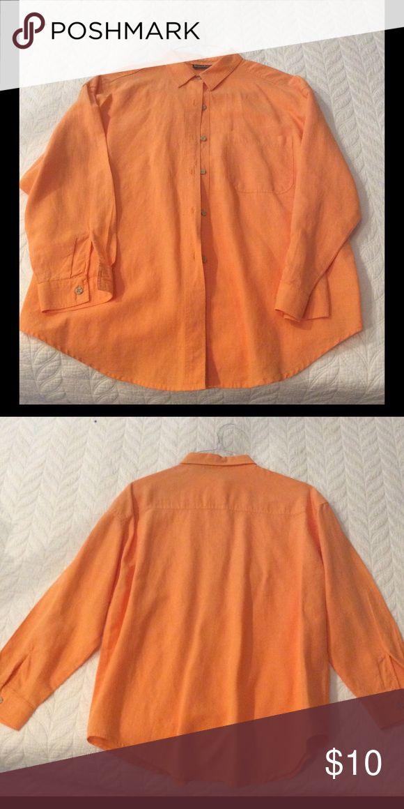 Orange cotton/linen button up shirt. Harvey Bernard size large cotton/linen button up shirt. Excellent condition! Harve Benard Tops Button Down Shirts