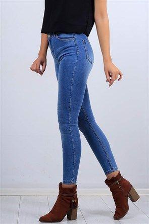 Likrali Mavi Bayan Kot Pantolon 10465b Moda Pantolon Kotlar