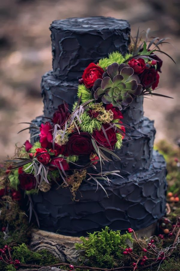 a black cake decorated with succulents and red ranunculus- I don't know why I find this so pretty?!?